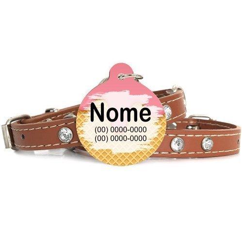 Plaquinha-Tag de identificacão de cães-Sorvete