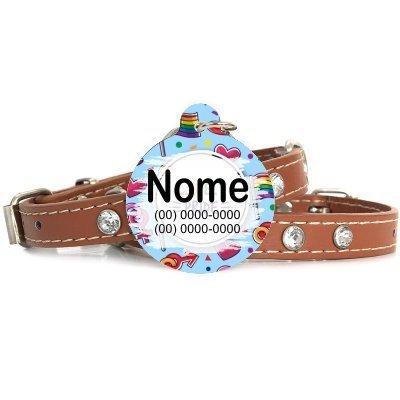 Plaquinha-tag de identificacão de gatos-LGBT PRIDE