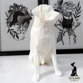 Labrador Geométrico 3D- Branco- 20cm alt – 164 gramas