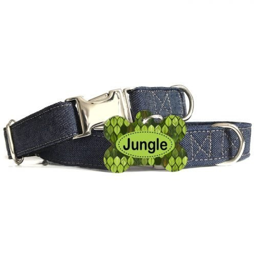 Coleira Elegância Denim + Tag Jungle